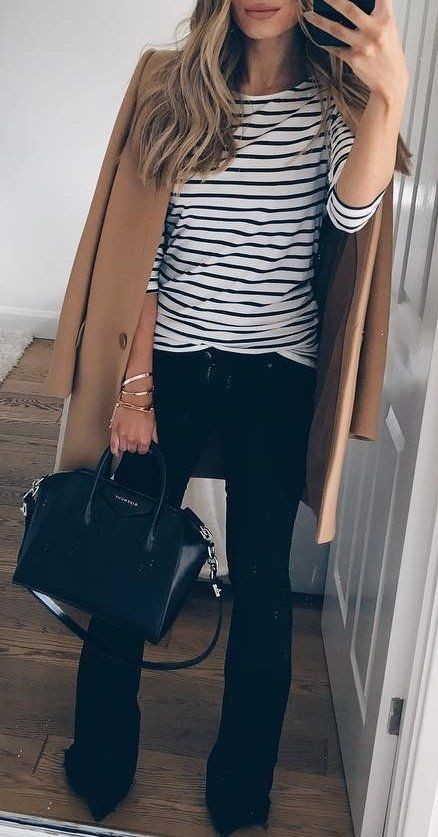 Striped Sweater // Camel Coat // Leather Tote // Black Pants Source