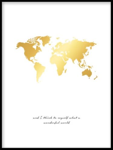 A beautiful gold poster of a wold map, a shiny beautiful gold motif. This print goes very well in a wall collage matched together with our black and white prints for a personal touch in your home. Desenio.co.uk