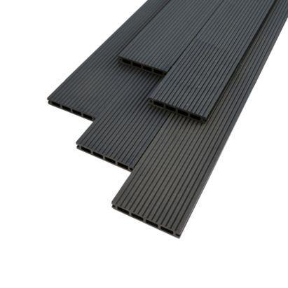 Ebony reversible composite deckboard pack of 7 for 4m composite decking boards