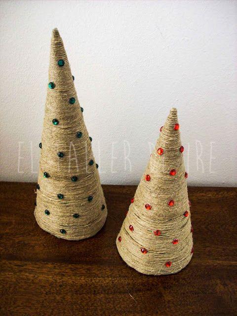 El taller de Ire: DIY: Árbol de Navidad hecho con cuerda o lana