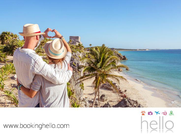 VIAJES DE LUNA DE MIEL. El Caribe mexicano cuenta con múltiples atractivos, para que lo elijas como el destino de tu viaje de bodas. Playas de fina arena y agua cristalina, gran riqueza cultural en sus ruinas mayas y barreras coralinas, perfectas para sumergirse en una aventura de snorkeling y descubrir el mundo submarino con tu pareja. En Booking Hello te invitamos a elegir alguno de nuestros packs all inclusive a este lugar, para tener una luna de miel inolvidable. #lunademielenelcaribe