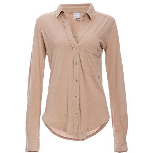 BOBI Cotton Button Down Shirt ($80) ❤ liked on Polyvore featuring tops, blouses, shirts, blusas, button-up, tan, cotton blouses, cotton button down shirts, tan top and bobi shirts