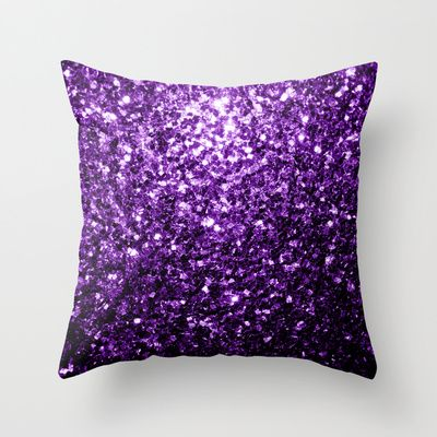 Beautiful Purple glitter sparkles Throw Pillow Cushion by #PLdesign #PurpleSparkles #SparklesGift