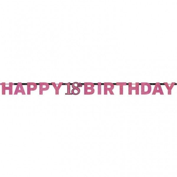 Poze Banner 18 ani Majorat Prismatic Sparkling Celebration Pink 213cm