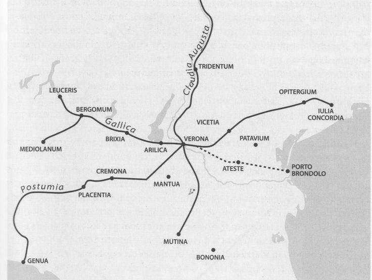 Verona Romana, difesa dalle mura e dal fiume Adige, Alttraversata dalle più importanti vie di comunicazione: la via Postumia la Via Gallica,e la via Claudia Augusta.