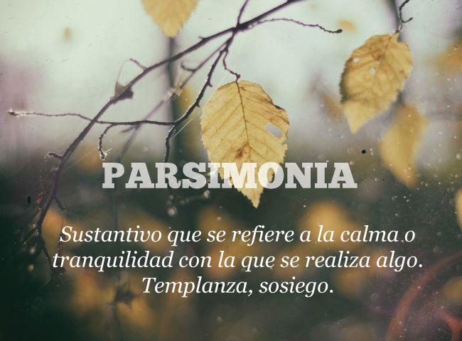Parsimonia: Sustantivo que se  refiere a la calma o tranquilidad con la que se realiza algo. Templanza, sosiego. (Español)
