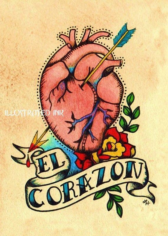 Old School Tattoo LA MANO and EL CORAZON Loteria - 5 x 7 ...