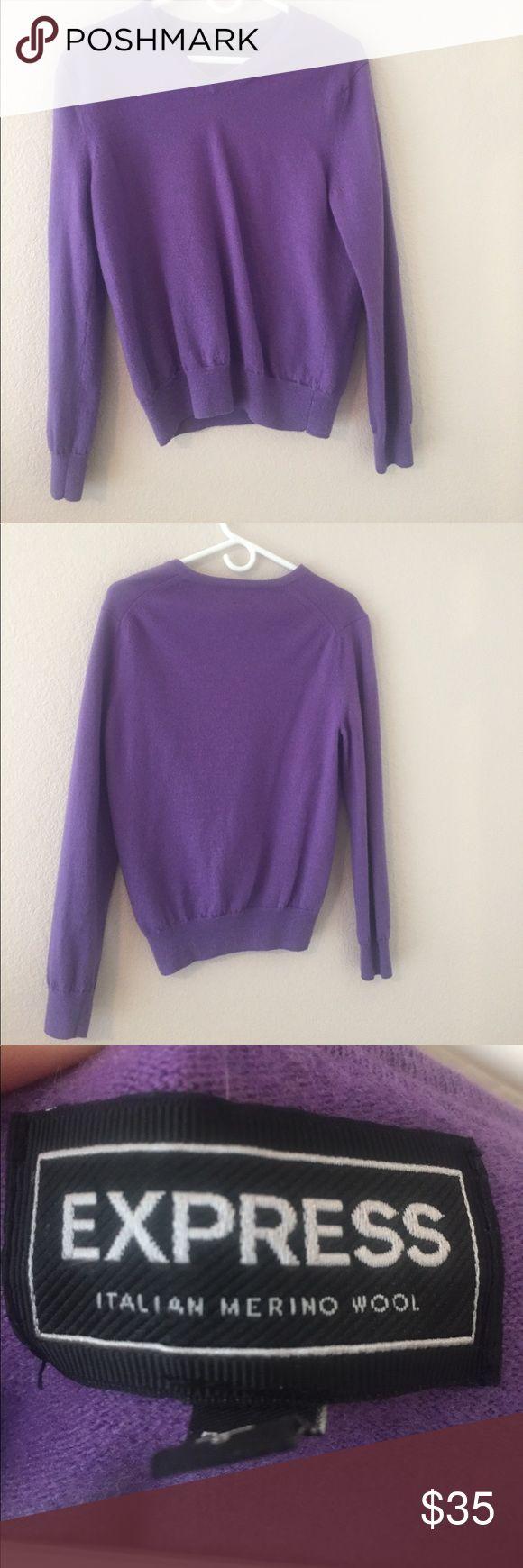 Express Italian merino wool sweater, size L Warm, purple express sweater/ Italian merino wool. In good condition. Express Sweaters V-Necks