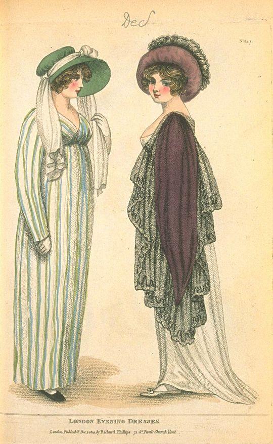 ♥♥♥ Evening Dresses, December 1804, Fashions of London & Paris