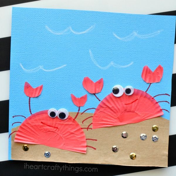 This cupcake liner crab craft for kids is simple to make, requires no painting, and makes a perfect summer craft for kids.