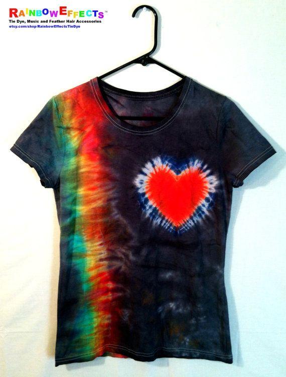 Women's Tie Dye Shirt I Heart Rainbows  by RainbowEffectsTieDye, $13.00