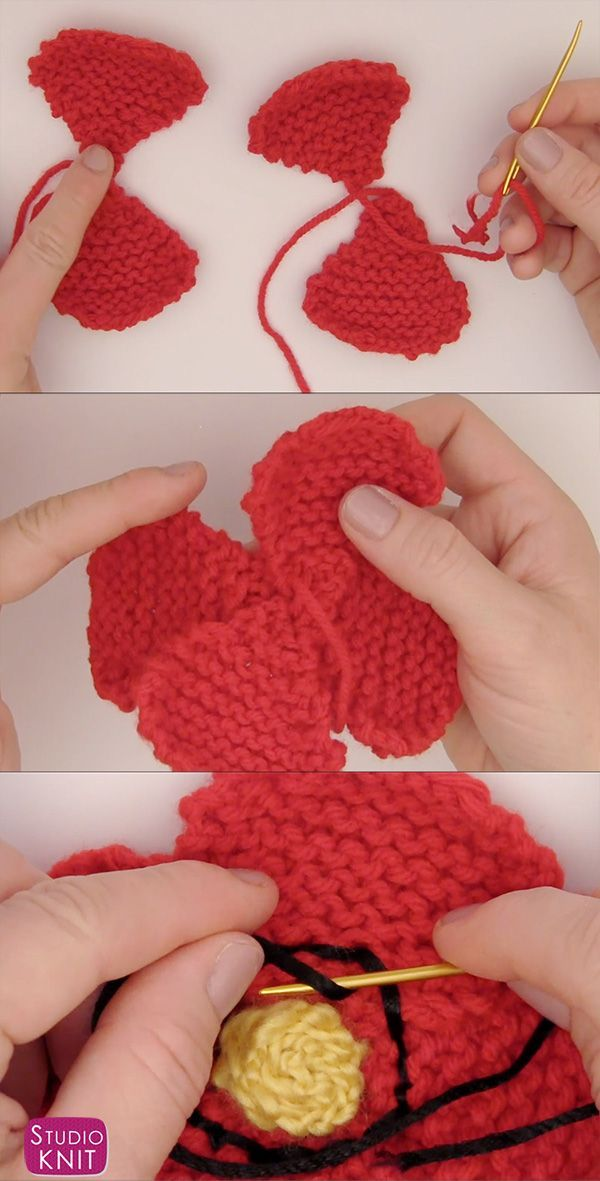 How To Knit A Poppy Flower Pattern With Video Tutorial Knit Flower