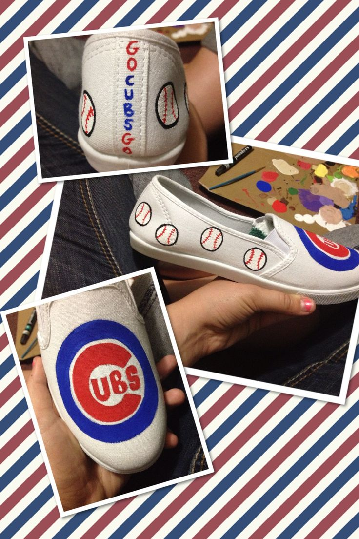 Custom painted Chicago Cubs shoes