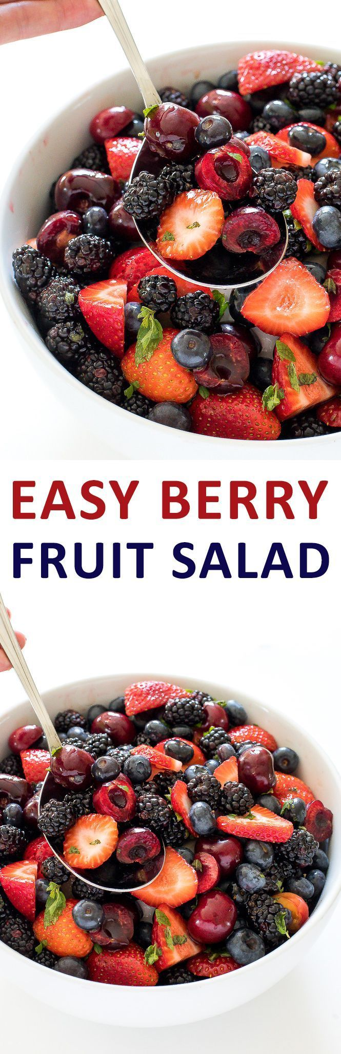 Berry Fruit Salad loaded with fresh fruit and tossed ina honey lime dressing. The perfect dessert or side dish for summer!   chefsavvy.com #recipe #berry #fruit #salad #healthy #fruit #summer