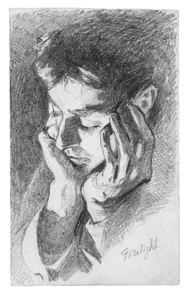 John Singer Sargent ~ Firelight, c.1875 (graphite)
