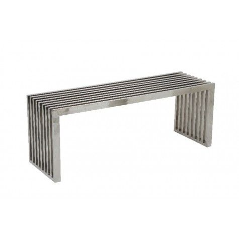 """CRISS Bench Polished Steel Large,47x15x17.5""""H - Light & Living"""