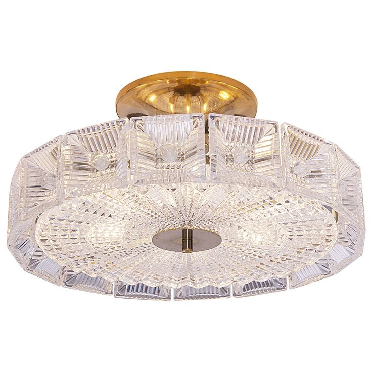 Carl Fagerlund for Orrefors Crystal Disc Flush Mount Lamp | From a unique collection of antique and modern flush mount at https://www.1stdibs.com/furniture/lighting/flush-mount-ceiling-lights/