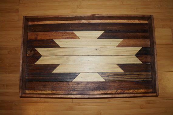 Navajo Aztec Native Boho Southwestern Serving Tray Wood Art