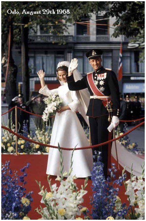 Crown Prince Harald and Sonja Haraldsen wed on 29th August 1968 at Oslo Domkirke.  He succeeded to the throne of Norway upon the death of his father Olav V on 17 January 1991.
