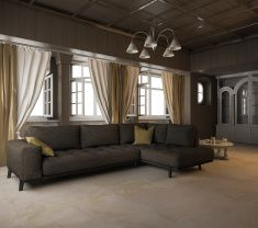 3d rendering black fabric sofa in classic style room stock photo