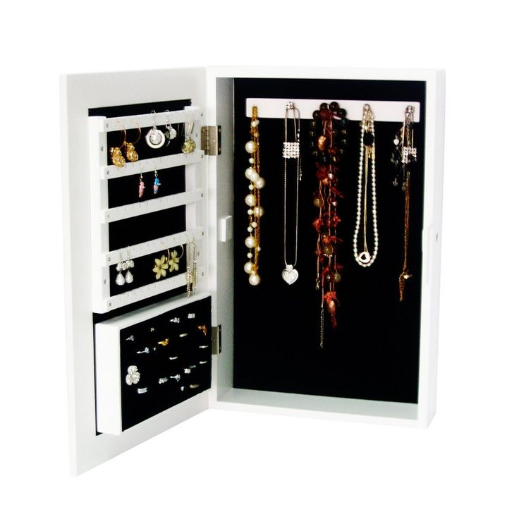 Organziedlife White Wall Mount/Stand Desktop Jewelry Box Armoire Cabinet Organizer Ring Storage