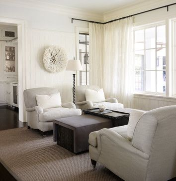 Curtain rods/sheer curtains  County Line - traditional - family room - chicago - Culligan Abraham Architecture