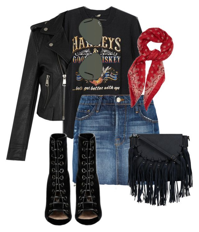 """Biker girl costume"" by vipop on Polyvore featuring Frame Denim, Victoria, Victoria Beckham, Ray-Ban, Barbara Bui and Yves Saint Laurent"