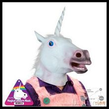 Halloween Party Cosplay Full Head Unicorn Mask Latex Animal Halloween Cosplay…