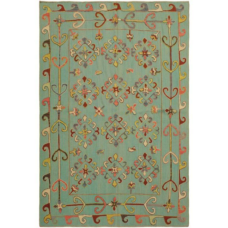 Tribal Embroidered Ikat Kilim Cooke Green/Pink Wool Rug – 5'9 X 7'8