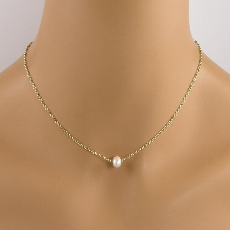 Single Small White Pearl Gold Floating Pearl Necklace