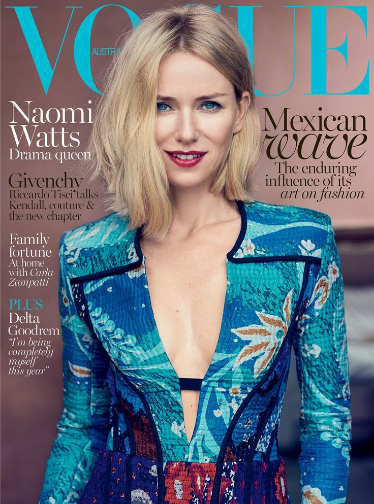 Vogue Australia October 2015: Noami watts covers the october 2015 issue of vogue australia, photographed by nathaniel goldberg.