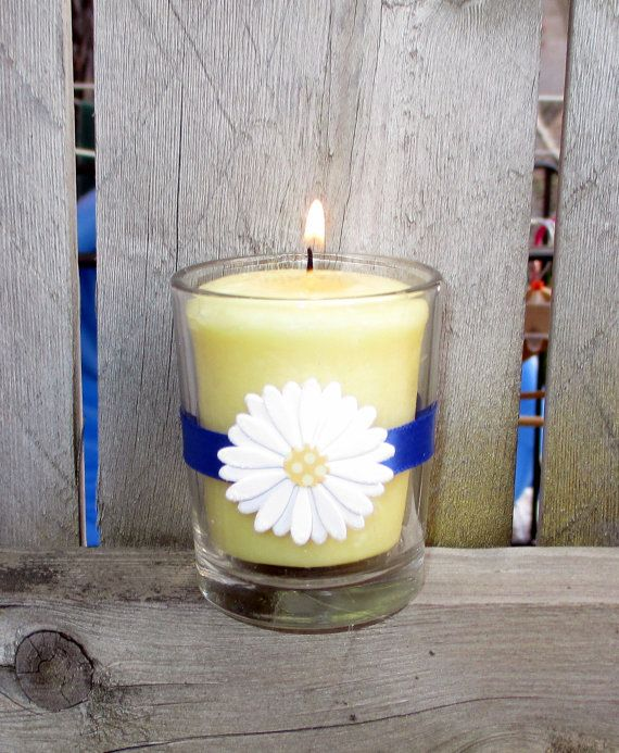 Daisy Wedding Décoration / Wedding Votive by CarolesWeddingWhimsy, set of 6, Royal Blue and Daisy Votive Candle Holders -Perfect for a Spring Wedding -Garden Wedding Decoration - You can find them here https://www.etsy.com/listing/200437731/daisy-wedding-decoration-wedding-votive