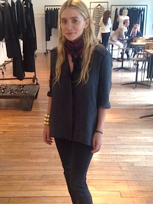Loving this silk button-down and denim look on Ashley, 2013. Get the look: + Josie Maran Argan...