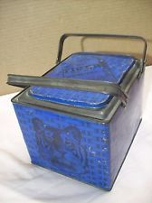 1910s~TIGER DARK SWEET CHEWING TOBACCO ADVERTISING~BLUE LUNCH PAIL TIN w/HANDLES