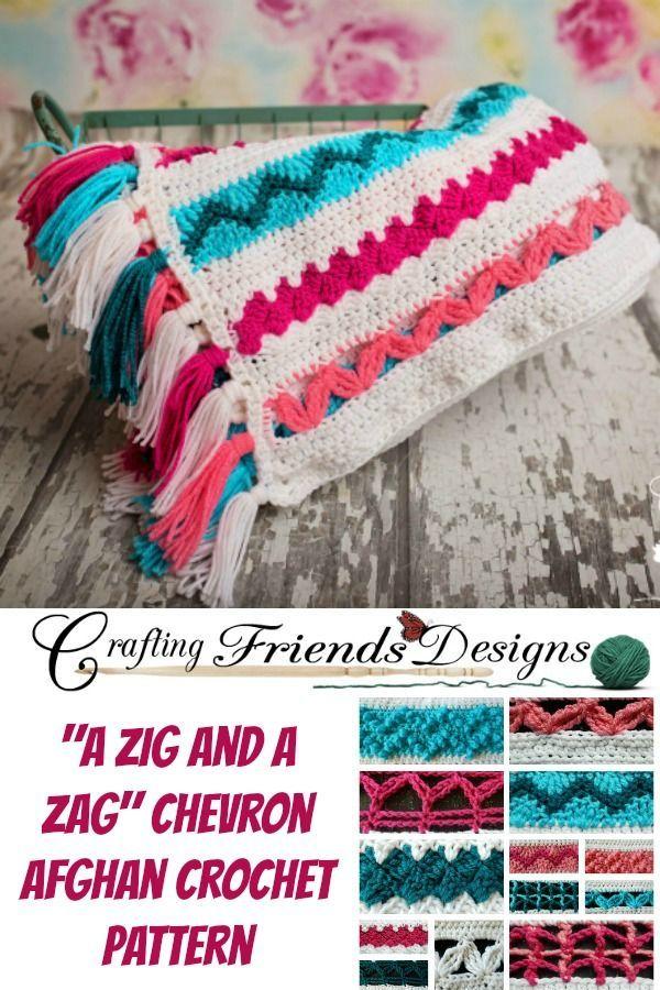 A Zig and A Zag Chevron Afghan Crochet Pattern | tejidos | Pinterest ...