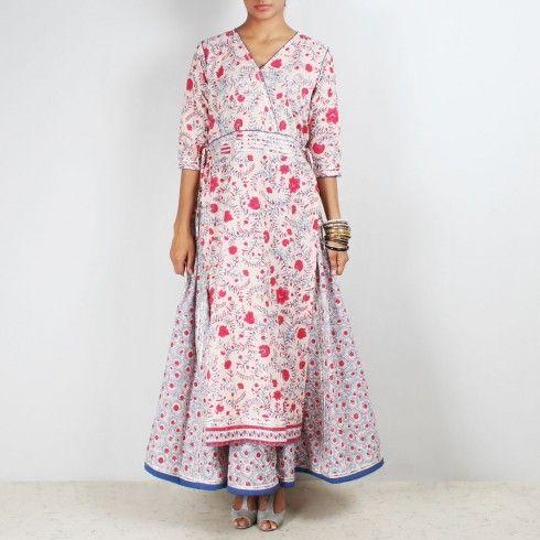 White Long Kurta With a Lehenga Skirt www.tadpolestore.com #indian #ethnic #lehanga #skirts #Kurta #printed #dresses #designer #fashion #onlineshopping #clothes #women #longdresses #IndainDresses