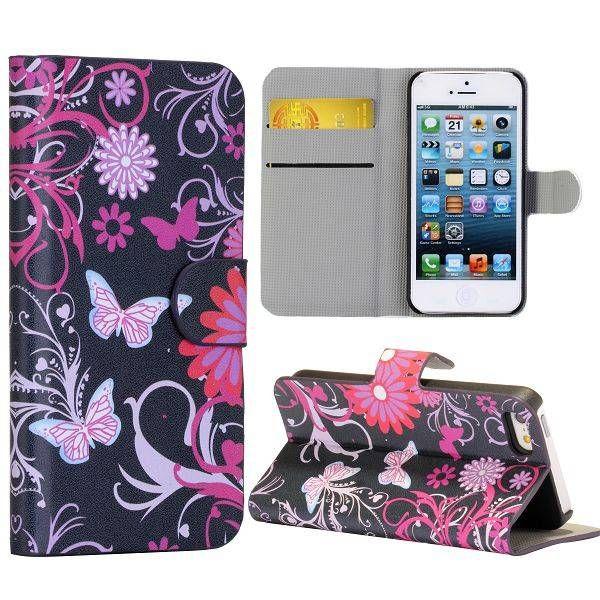Roze vlinders design booktype hoesje voor iPhone 5 / 5s