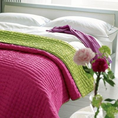 pure silk quilted throw in fuchsia and lime from Designers Guild