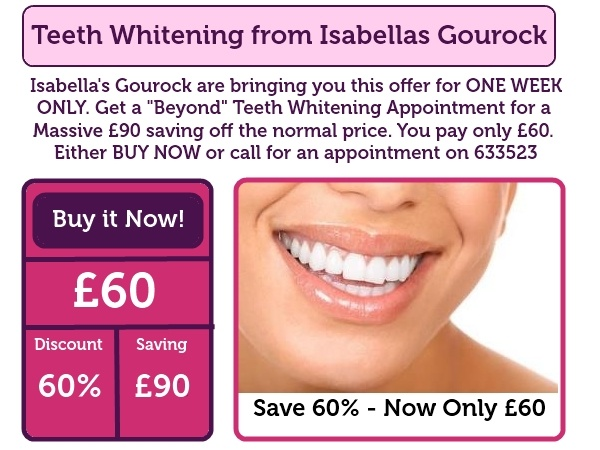 A new Deal has been added to our website. £60 teeth whitening from Isabella's gourock. Click on the photo for more info