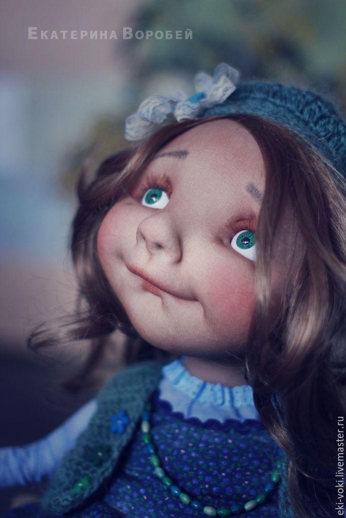 Купить Девочка Марта. - синий, зеленый, папоротник, девочка, весна, пуговка, голубой, цветочек
