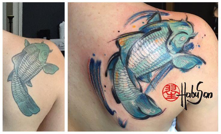 Aus alt mach neu - Koi im Ölfarbe-Look! Danke, liebe Sylvia! #tattoo #wien #habusan #watercolourtattoo #koi
