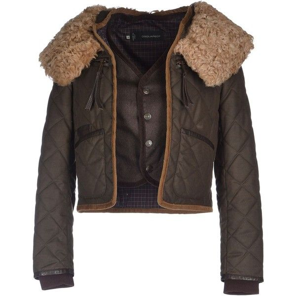 Dsquared2 Jacket (960 BRL) ❤ liked on Polyvore featuring outerwear, jackets, dark green, lapel jacket, fur jacket, logo jackets, multi pocket jacket and long sleeve jacket