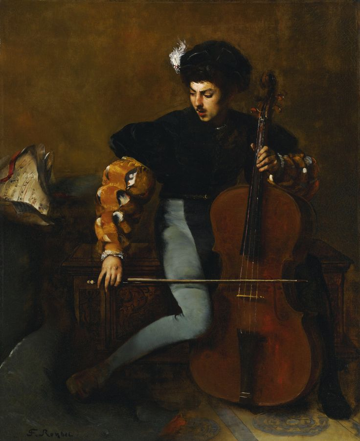 Ferdinand Roybet (French, 1840–1920) The Cellist. Oil on canvas, 43 1/2 x 35 1/4 in (110.5 x 89.5 cm). Sotheby's, May 2015, New York.