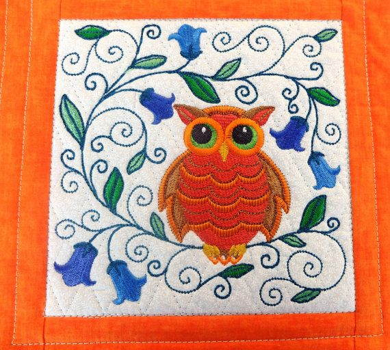 Patchwork embroidered and quilted mug rug Owl by StephsQuilts