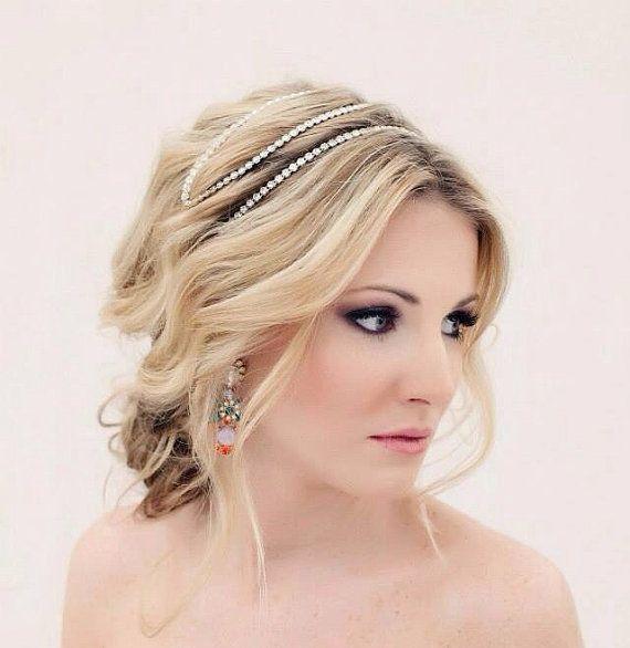 Crystal Headband, Wedding Headband, Rhinestone Headband, Wedding Hairpiece, Bridal Headpiece, Crystal Headpiece, Bride Headband - AXEL on Etsy, $130.00