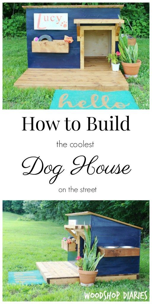 Step by step and video instructions on how to build a DIY dog house with deck and canopy. This stylish design will even make the neighbors jealous!