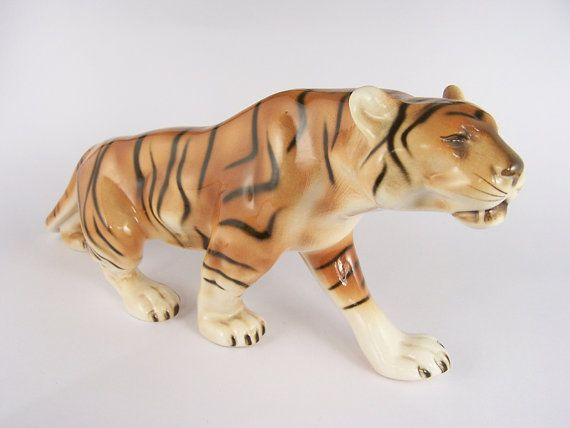 Royal Dux Pottery Tiger Figurine 37 cm / 14.6 inches, $99.00
