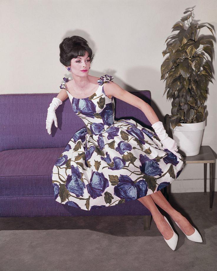 1960s purple floral dress with shoulder bows