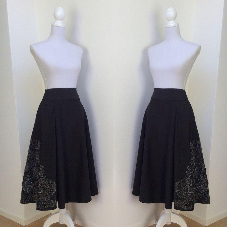 Full Midi Skirt with Handcut Flower Detail made from Japanese Silk