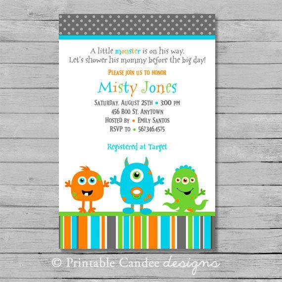 Little Monster Baby Shower Invitation Custom By Printablecandee